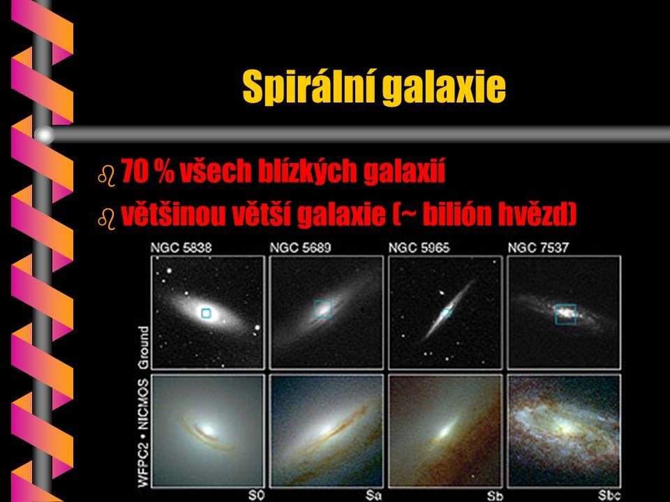Spirální galaxie b b 70 % všech blízkých galaxií b b většinou větší galaxie (~ bilión hvězd)