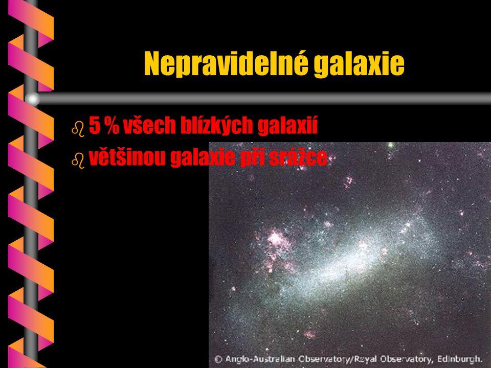 Nepravidelné galaxie b b 5 % všech blízkých galaxií b b většinou galaxie při srážce