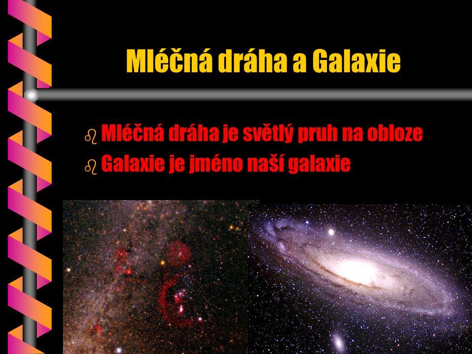 Mléčná dráha a Galaxie b b Mléčná dráha je světlý pruh na obloze b b Galaxie je jméno naší galaxie