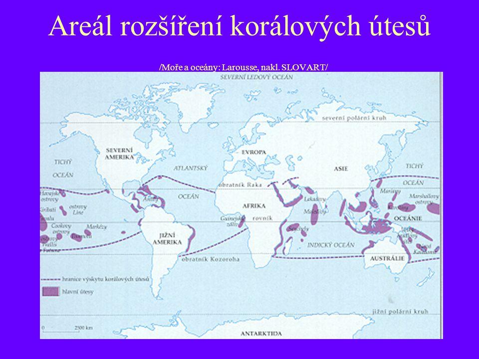 Areál rozšíření korálových útesů /Moře a oceány: Larousse, nakl. SLOVART/