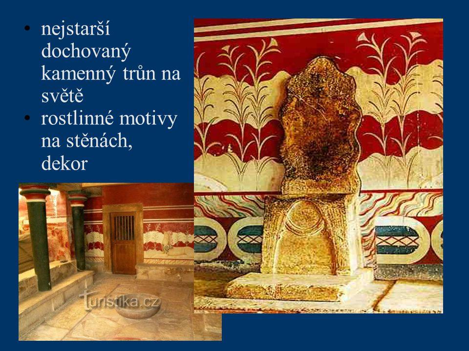 nejstarší dochovaný kamenný trůn na světě rostlinné motivy na stěnách, dekor