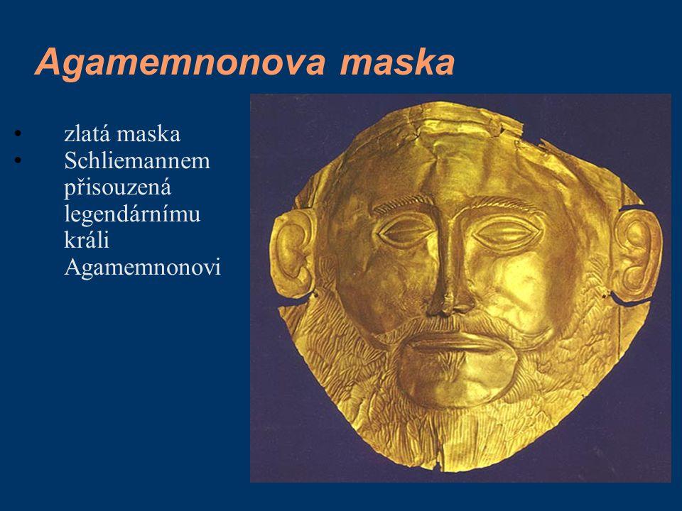 Agamemnonova maska zlatá maska Schliemannem přisouzená legendárnímu králi Agamemnonovi