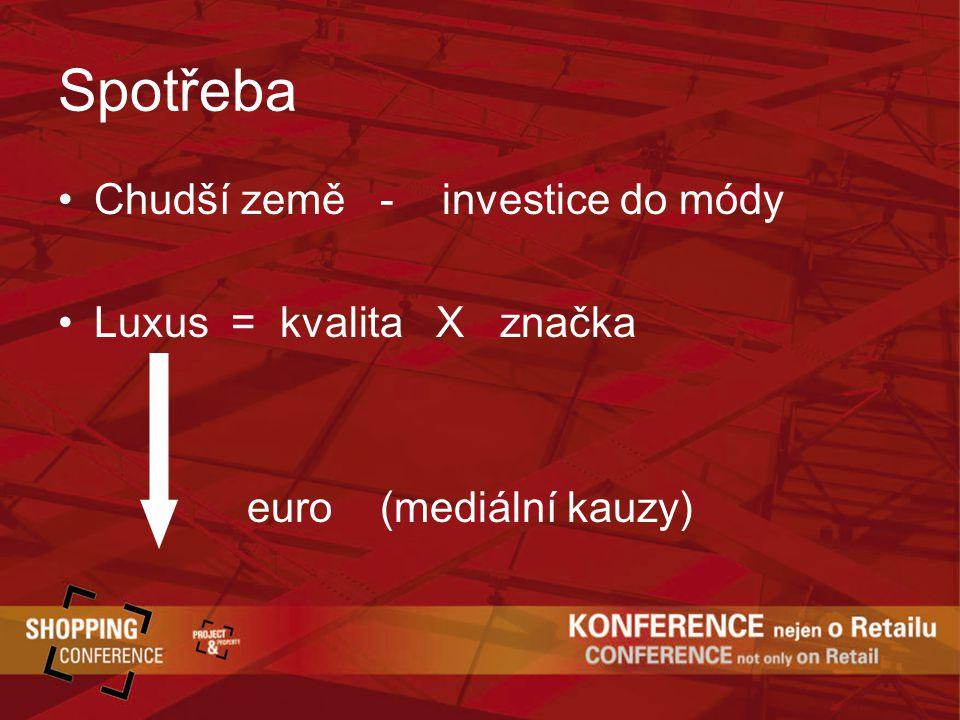 Spotřeba Chudší země - investice do módy Luxus = kvalita X značka euro (mediální kauzy)
