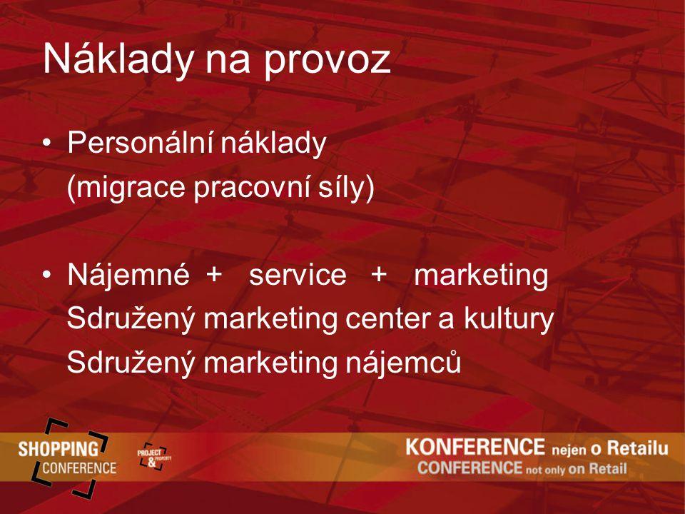 Náklady na provoz Personální náklady (migrace pracovní síly) Nájemné + service + marketing Sdružený marketing center a kultury Sdružený marketing nájemců