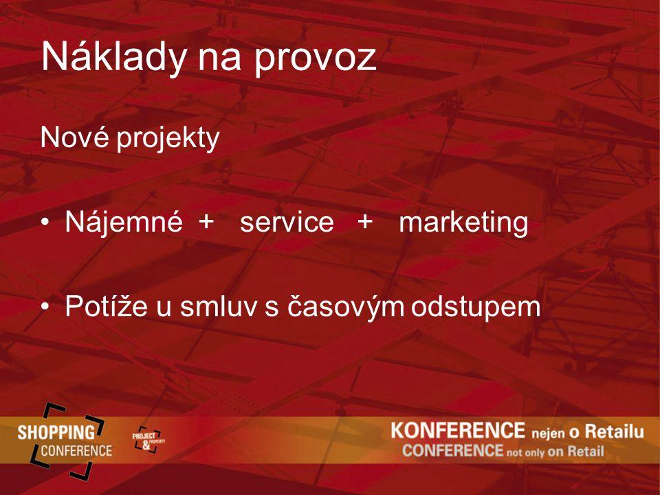 Náklady na provoz Nové projekty Nájemné + service + marketing Potíže u smluv s časovým odstupem