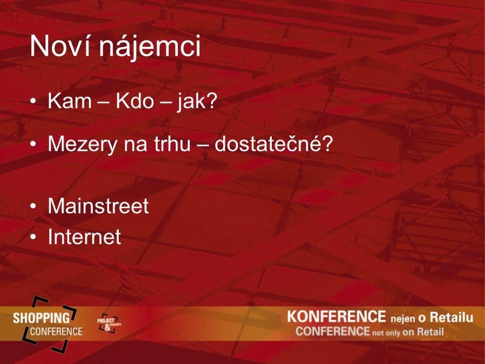 Noví nájemci Kam – Kdo – jak Mezery na trhu – dostatečné Mainstreet Internet