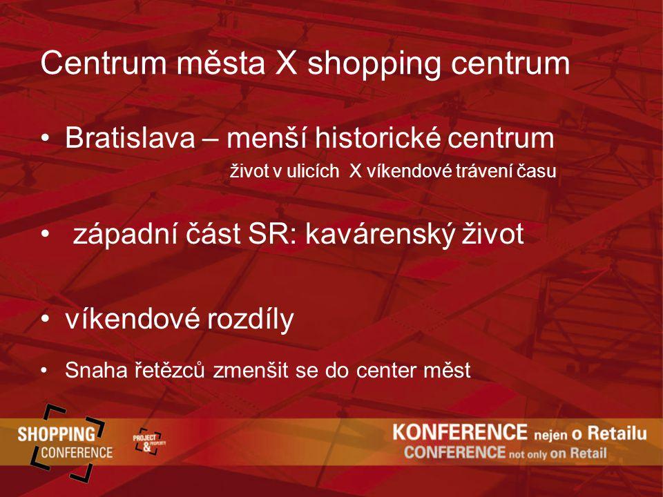 Centrum města X shopping centrum Bratislava – menší historické centrum život v ulicích X víkendové trávení času západní část SR: kavárenský život víkendové rozdíly Snaha řetězců zmenšit se do center měst