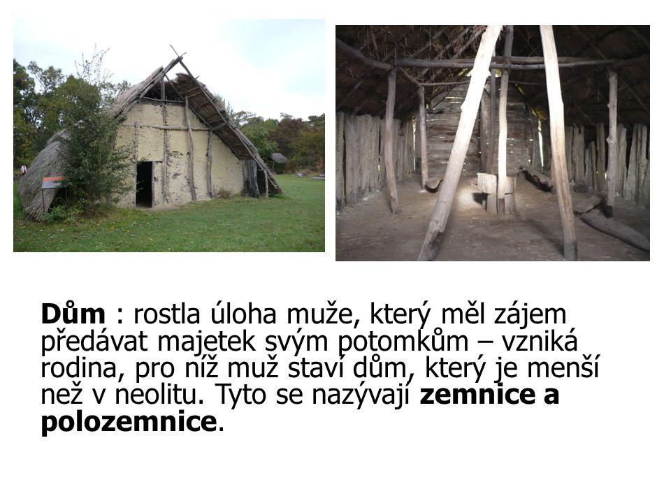 Dům : rostla úloha muže, který měl zájem předávat majetek svým potomkům – vzniká rodina, pro níž muž staví dům, který je menší než v neolitu. Tyto se