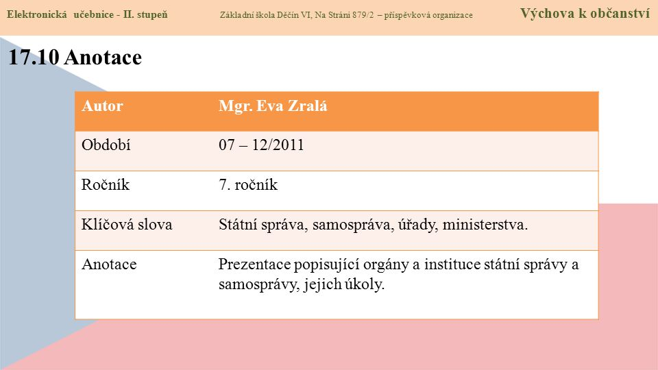 17.10 Anotace Elektronická učebnice - II.
