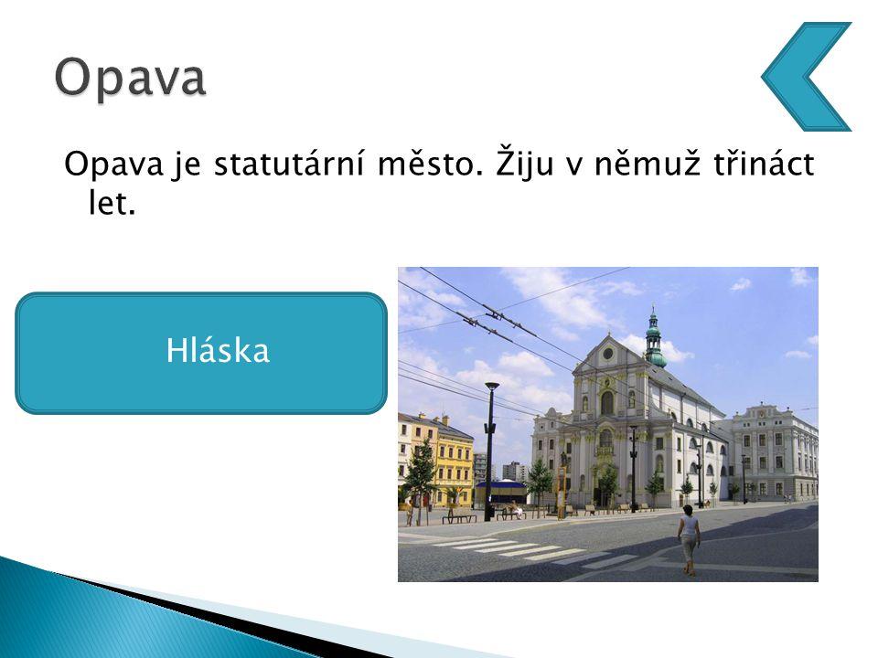 Opava je statutární město. Žiju v němuž třináct let.  Hláska Hláska