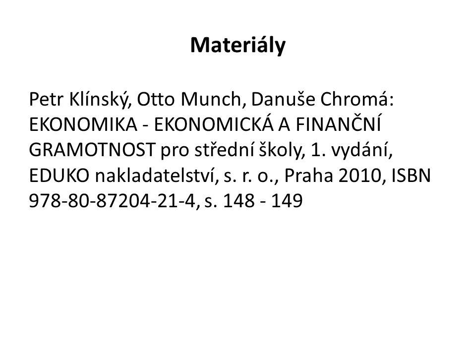 Materiály Petr Klínský, Otto Munch, Danuše Chromá: EKONOMIKA - EKONOMICKÁ A FINANČNÍ GRAMOTNOST pro střední školy, 1.
