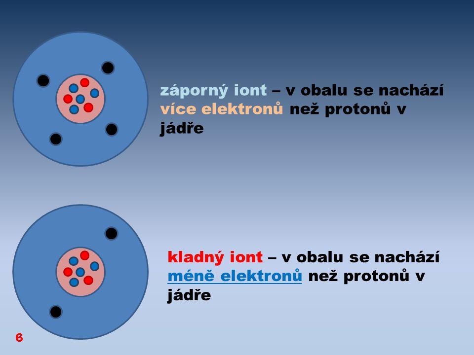 kladný iont – v obalu se nachází méně elektronů než protonů v jádře záporný iont – v obalu se nachází více elektronů než protonů v jádře 6