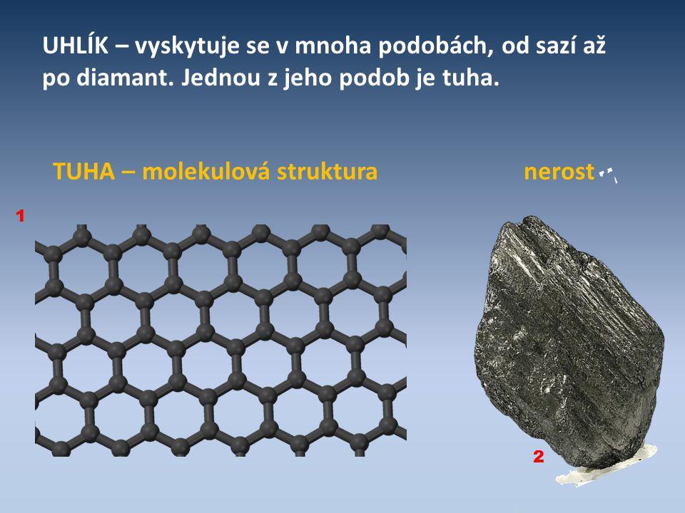 UHLÍK – vyskytuje se v mnoha podobách, od sazí až po diamant. Jednou z jeho podob je tuha. TUHA – molekulová struktura nerost 1 2
