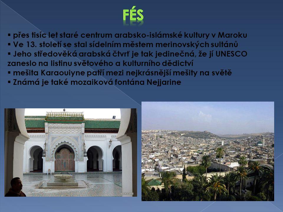 přes tisíc let staré centrum arabsko-islámské kultury v Maroku  Ve 13. století se stal sídelním městem merinovských sultánů  Jeho středověká arabs