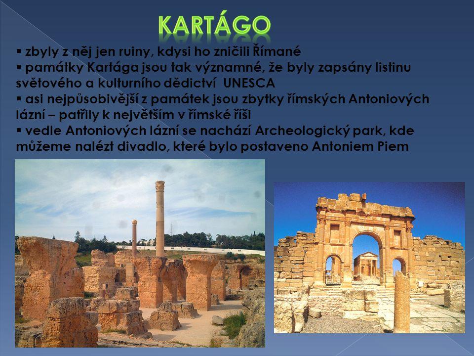  zbyly z něj jen ruiny, kdysi ho zničili Římané  památky Kartága jsou tak významné, že byly zapsány listinu světového a kulturního dědictví UNESCA 
