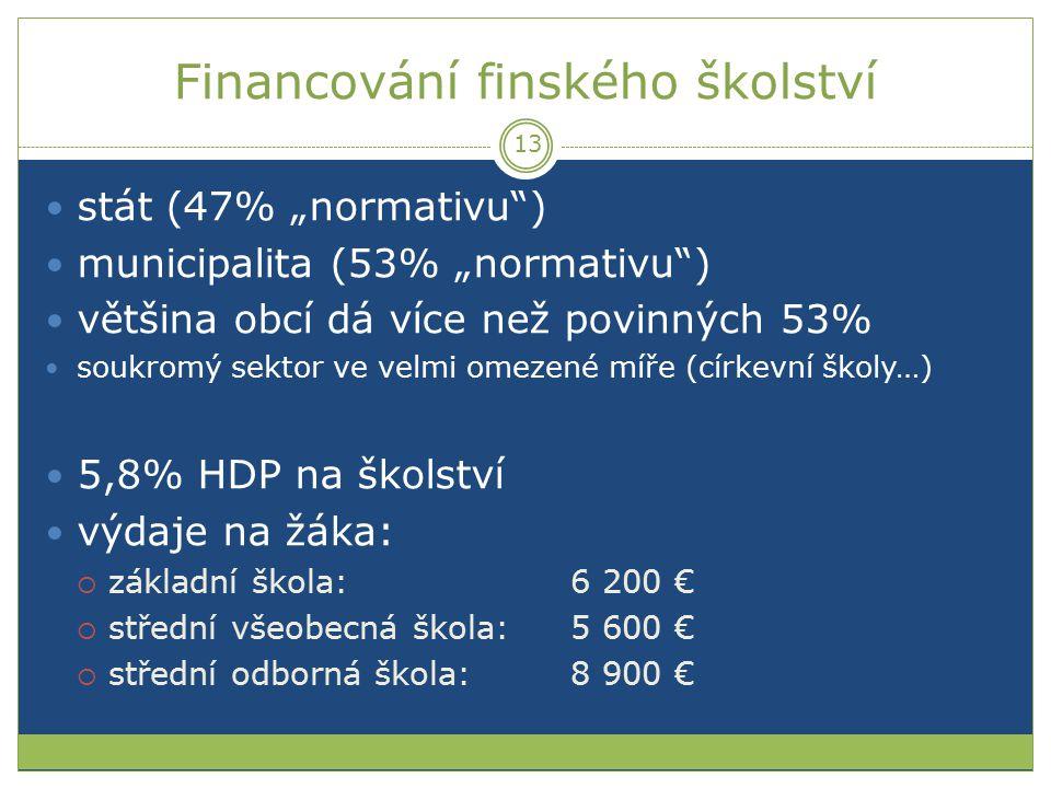 """Financování finského školství stát (47% """"normativu"""") municipalita (53% """"normativu"""") většina obcí dá více než povinných 53% soukromý sektor ve velmi om"""