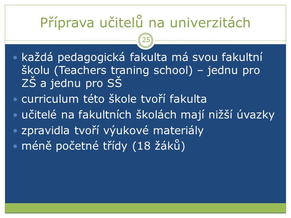 Příprava učitelů na univerzitách každá pedagogická fakulta má svou fakultní školu (Teachers traning school) – jednu pro ZŠ a jednu pro SŠ curriculum t