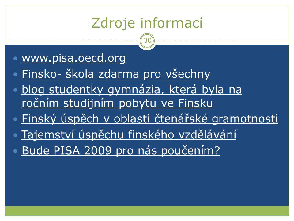 Zdroje informací www.pisa.oecd.org Finsko- škola zdarma pro všechny blog studentky gymnázia, která byla na ročním studijním pobytu ve Finsku blog stud