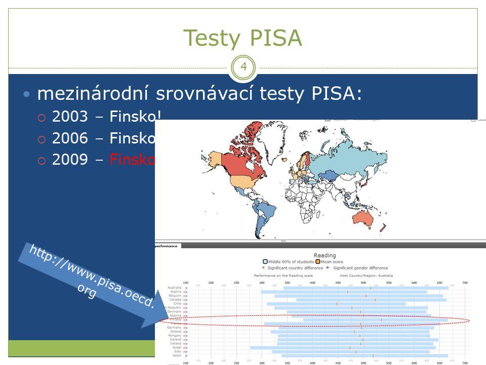 Testy PISA mezinárodní srovnávací testy PISA:  2003 – Finsko!  2006 – Finsko!  2009 – Finsko! http://www.pisa.oecd. org 4