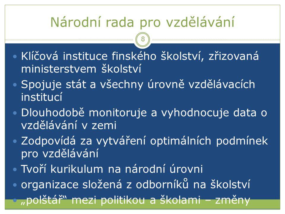 Národní rada pro vzdělávání Klíčová instituce finského školství, zřizovaná ministerstvem školství Spojuje stát a všechny úrovně vzdělávacích institucí