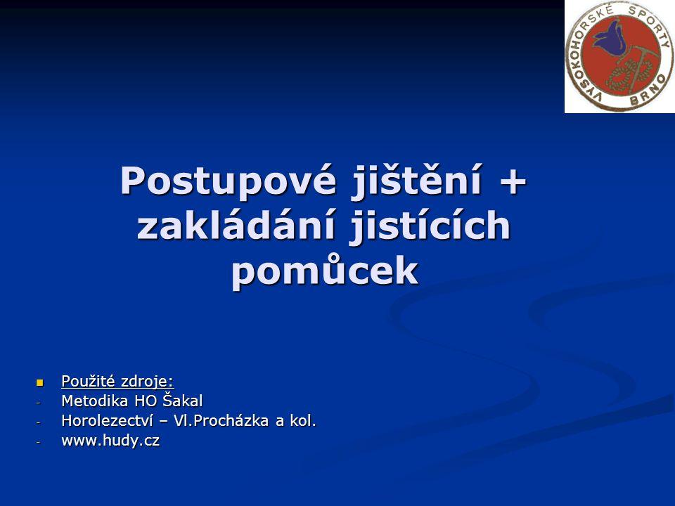 Postupové jištění + zakládání jistících pomůcek Použité zdroje: Použité zdroje: - Metodika HO Šakal - Horolezectví – Vl.Procházka a kol.