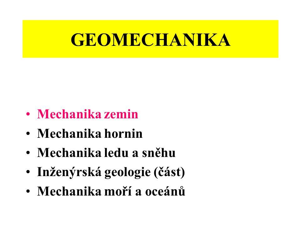 GEOMECHANIKA Mechanika zemin Mechanika hornin Mechanika ledu a sněhu Inženýrská geologie (část) Mechanika moří a oceánů