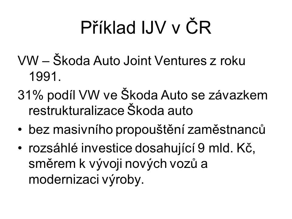 Příklad IJV v ČR VW – Škoda Auto Joint Ventures z roku 1991. 31% podíl VW ve Škoda Auto se závazkem restrukturalizace Škoda auto bez masivního propouš