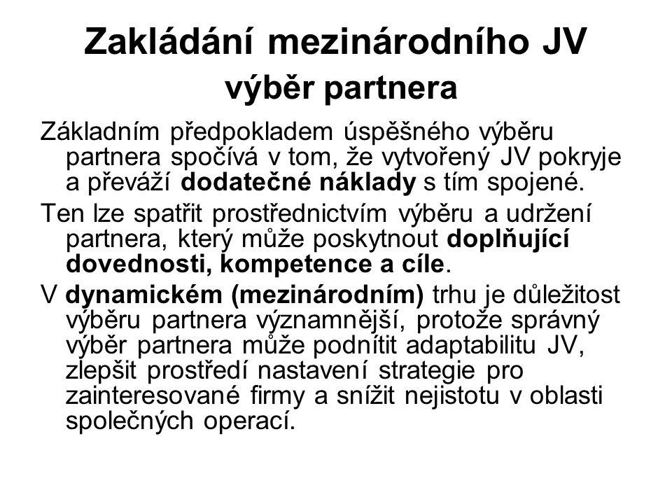 Zakládání mezinárodního JV výběr partnera Základním předpokladem úspěšného výběru partnera spočívá v tom, že vytvořený JV pokryje a převáží dodatečné