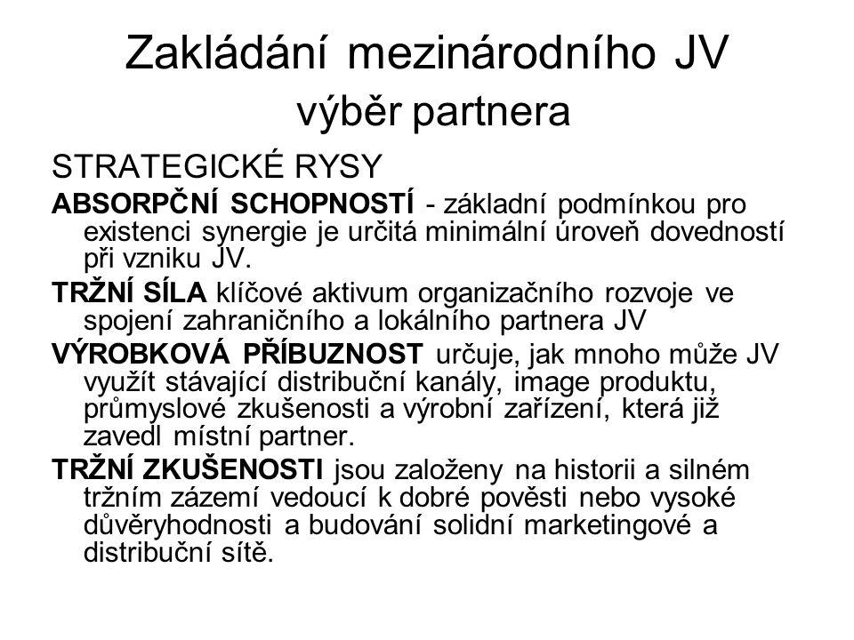 Zakládání mezinárodního JV výběr partnera STRATEGICKÉ RYSY ABSORPČNÍ SCHOPNOSTÍ - základní podmínkou pro existenci synergie je určitá minimální úroveň