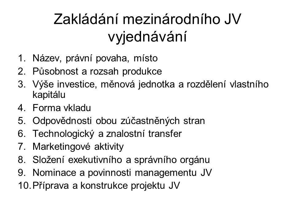 Zakládání mezinárodního JV vyjednávání 1.Název, právní povaha, místo 2.Působnost a rozsah produkce 3.Výše investice, měnová jednotka a rozdělení vlast