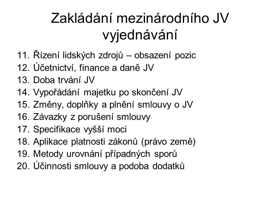 Zakládání mezinárodního JV vyjednávání 11.Řízení lidských zdrojů – obsazení pozic 12.Účetnictví, finance a daně JV 13.Doba trvání JV 14.Vypořádání maj