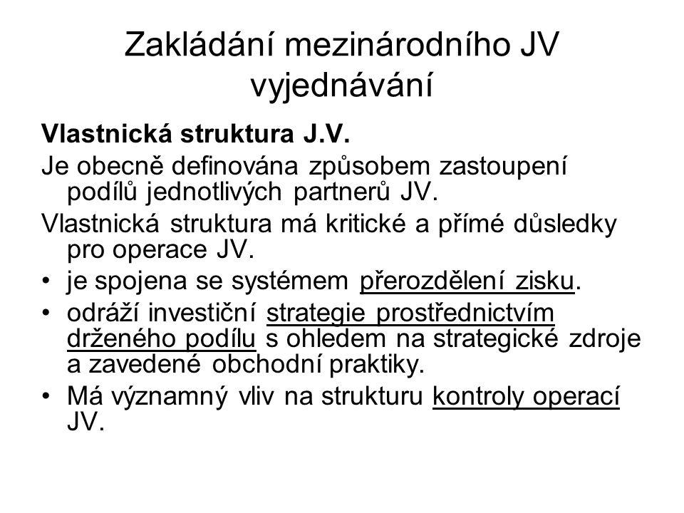 Zakládání mezinárodního JV vyjednávání Vlastnická struktura J.V. Je obecně definována způsobem zastoupení podílů jednotlivých partnerů JV. Vlastnická