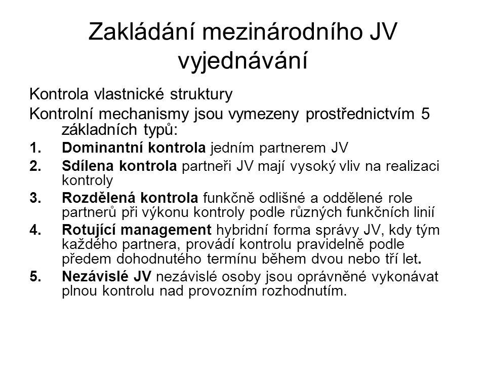 Zakládání mezinárodního JV vyjednávání Kontrola vlastnické struktury Kontrolní mechanismy jsou vymezeny prostřednictvím 5 základních typů: 1.Dominantn