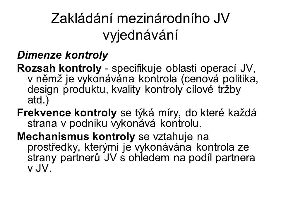 Zakládání mezinárodního JV vyjednávání Dimenze kontroly Rozsah kontroly - specifikuje oblasti operací JV, v němž je vykonávána kontrola (cenová politi