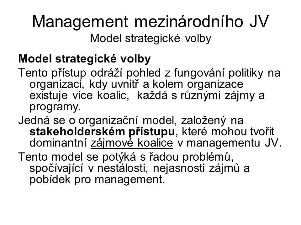 Management mezinárodního JV Model strategické volby Model strategické volby Tento přístup odráží pohled z fungování politiky na organizaci, kdy uvnitř