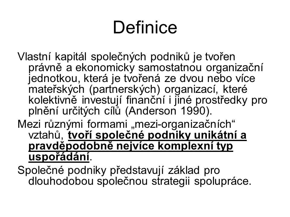 Definice Vlastní kapitál společných podniků je tvořen právně a ekonomicky samostatnou organizační jednotkou, která je tvořená ze dvou nebo více mateřs
