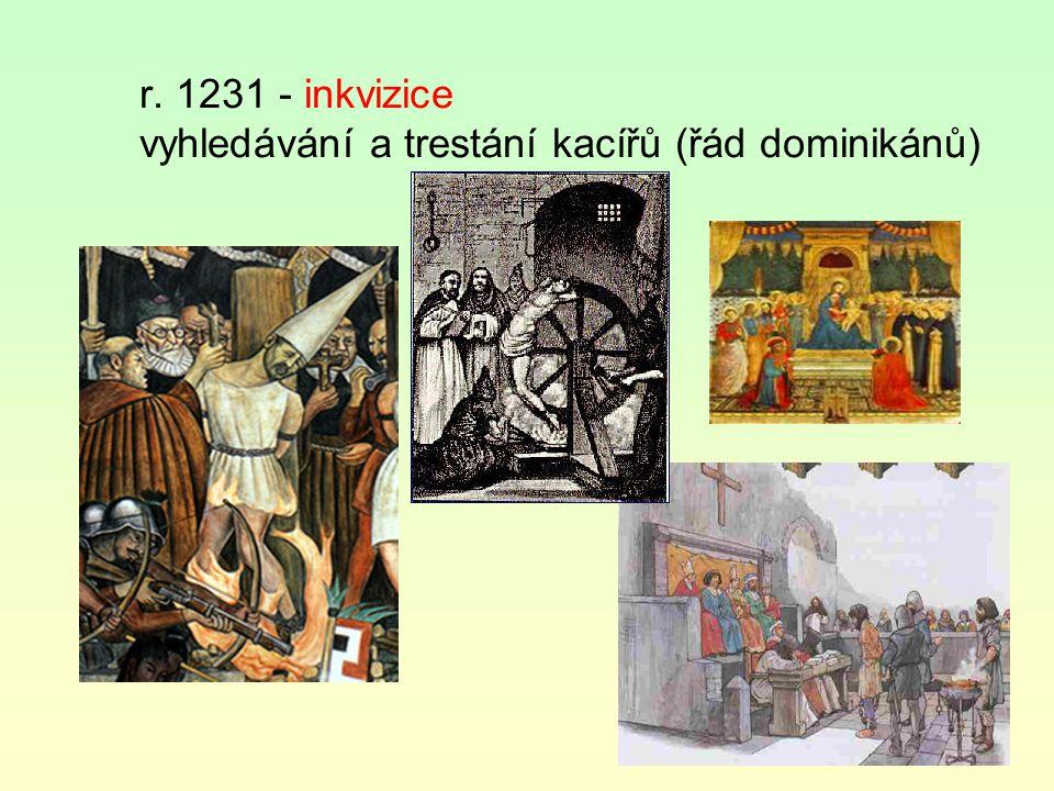r. 1231 - inkvizice vyhledávání a trestání kacířů (řád dominikánů)
