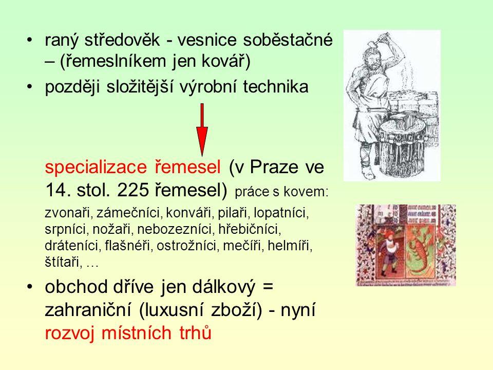 raný středověk - vesnice soběstačné – (řemeslníkem jen kovář) později složitější výrobní technika specializace řemesel (v Praze ve 14. stol. 225 řemes