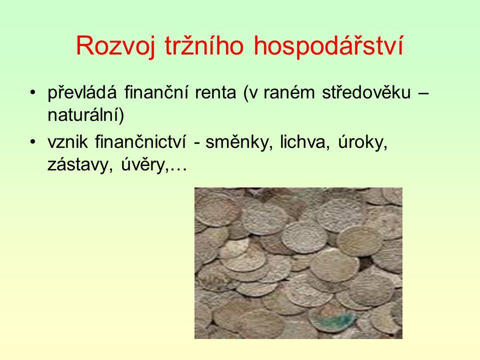 Rozvoj tržního hospodářství převládá finanční renta (v raném středověku – naturální) vznik finančnictví - směnky, lichva, úroky, zástavy, úvěry,…