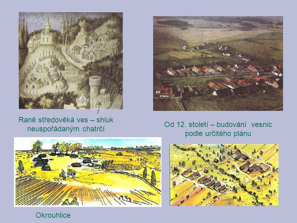 Raně středověká ves – shluk neuspořádaným chatrčí Od 12. století – budování vesnic podle určitého plánu Okrouhlice