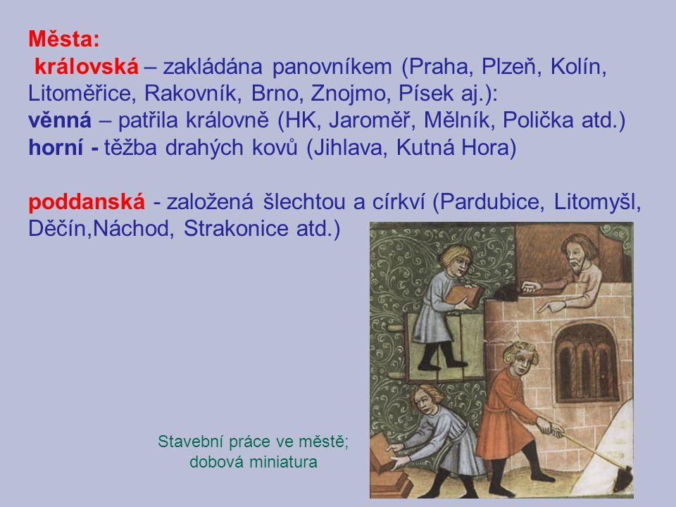 Města: královská – zakládána panovníkem (Praha, Plzeň, Kolín, Litoměřice, Rakovník, Brno, Znojmo, Písek aj.): věnná – patřila královně (HK, Jaroměř, M