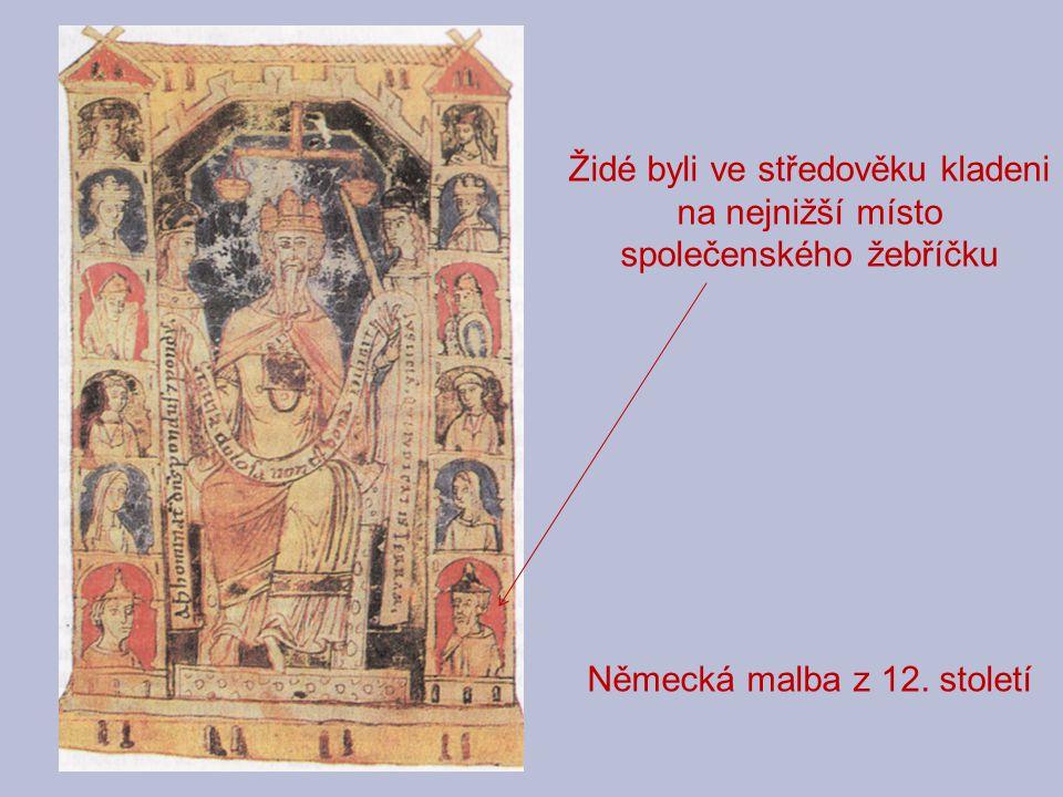 Židé byli ve středověku kladeni na nejnižší místo společenského žebříčku Německá malba z 12. století