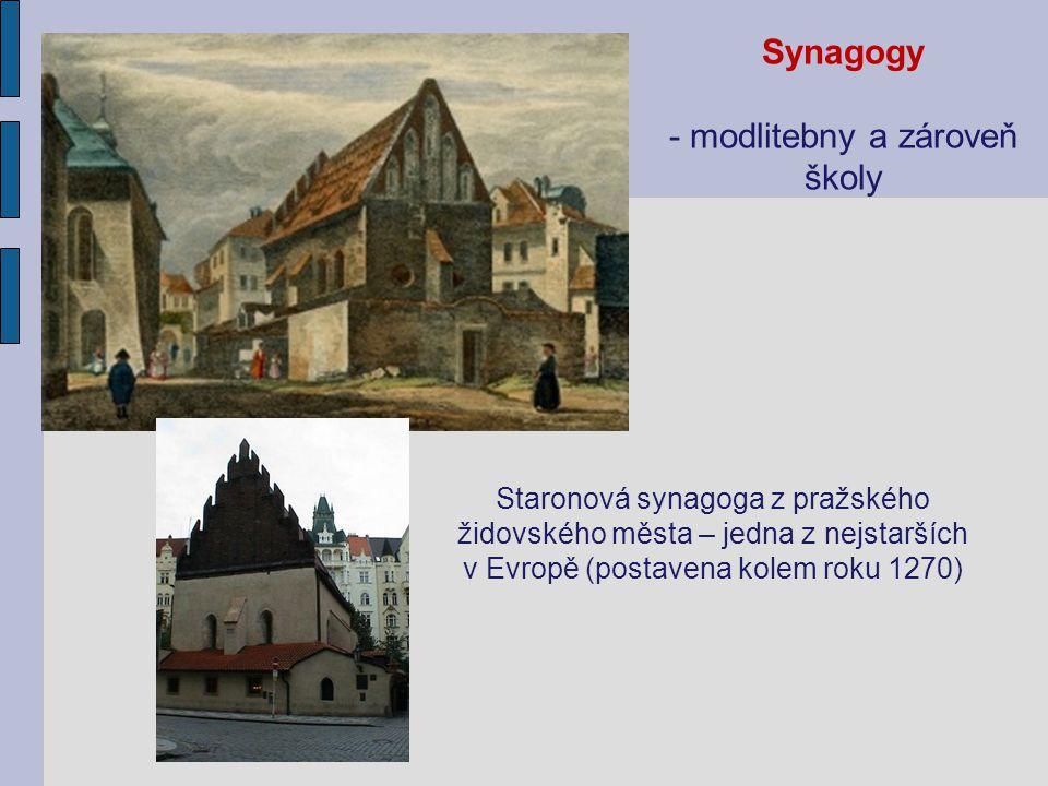 Synagogy - modlitebny a zároveň školy Staronová synagoga z pražského židovského města – jedna z nejstarších v Evropě (postavena kolem roku 1270)