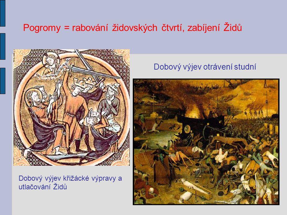 Dobový výjev křižácké výpravy a utlačování Židů Dobový výjev otrávení studní Pogromy = rabování židovských čtvrtí, zabíjení Židů