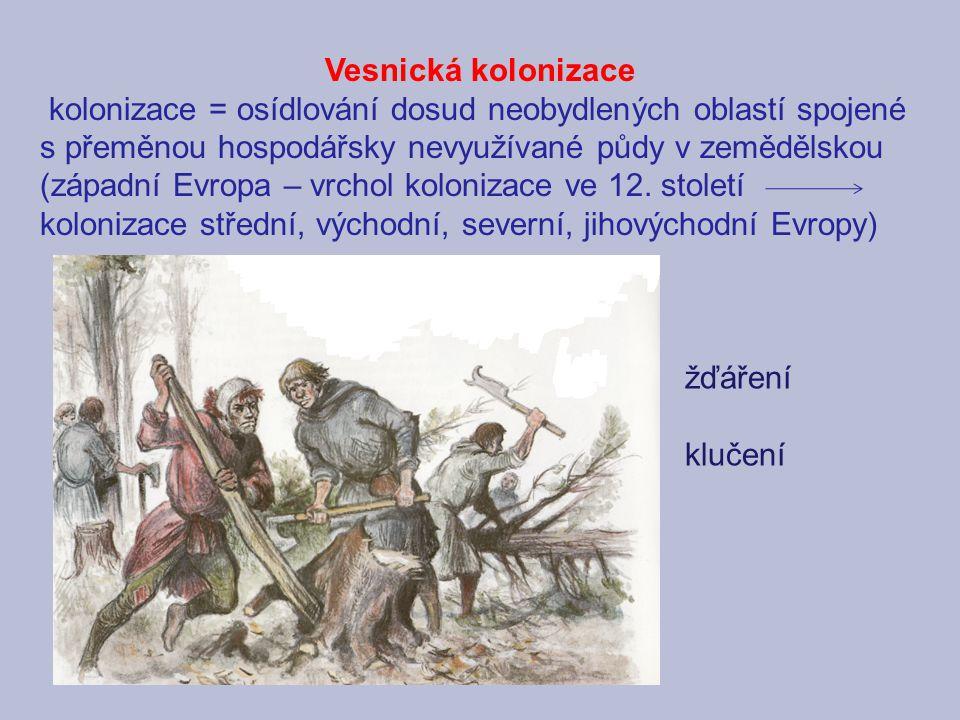 Vesnická kolonizace kolonizace = osídlování dosud neobydlených oblastí spojené s přeměnou hospodářsky nevyužívané půdy v zemědělskou (západní Evropa –