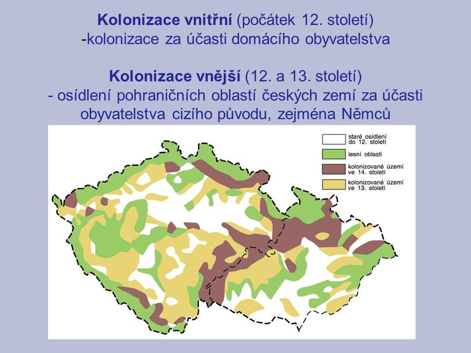 Kolonizace vnitřní (počátek 12. století) -kolonizace za účasti domácího obyvatelstva Kolonizace vnější (12. a 13. století) - osídlení pohraničních obl