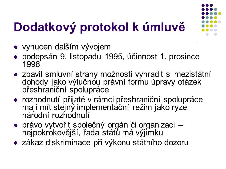 Dodatkový protokol k úmluvě vynucen dalším vývojem podepsán 9. listopadu 1995, účinnost 1. prosince 1998 zbavil smluvní strany možnosti vyhradit si me