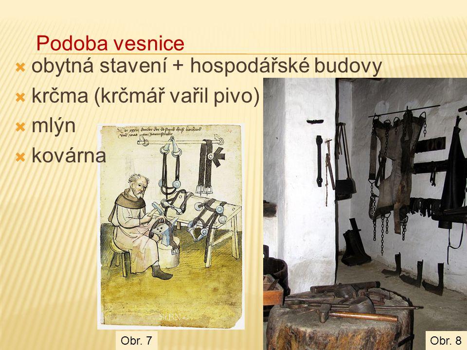  obytná stavení + hospodářské budovy  krčma (krčmář vařil pivo)  mlýn  kovárna Podoba vesnice Obr. 8Obr. 7