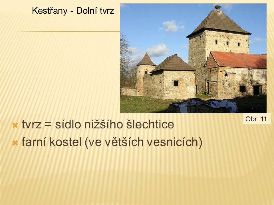  tvrz = sídlo nižšího šlechtice  farní kostel (ve větších vesnicích) Kestřany - Dolní tvrz Obr. 11