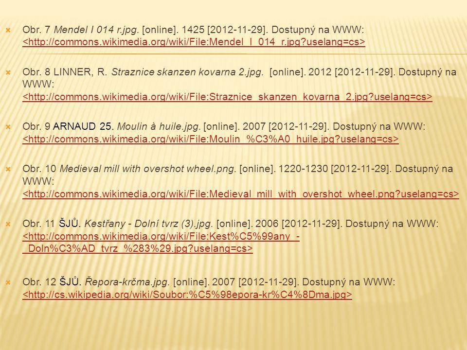  Obr. 7 Mendel I 014 r.jpg. [online]. 1425 [2012-11-29]. Dostupný na WWW:  Obr. 8 LINNER, R. Straznice skanzen kovarna 2.jpg. [online]. 2012 [2012-1